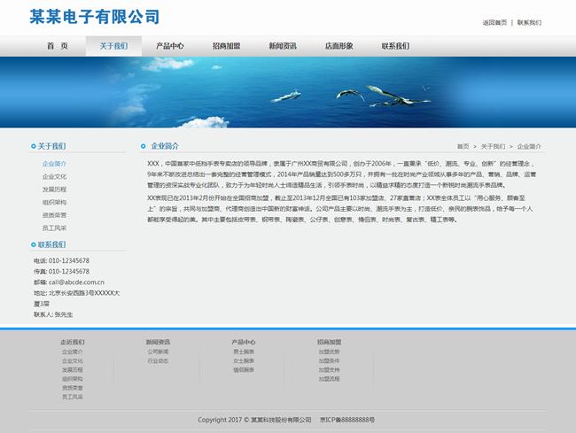 帝国cms电子企业自适应网站模板_电脑版单页