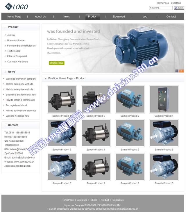 帝国cms通用灰白色外贸英文企业网站_产品列表